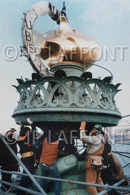 Nov 1985, New York City - New York: Statue of Liberty torch under renovation.