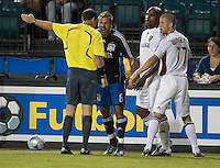 Darren Huckerby yells at the referee over a call, .during a 3-2 victory by Real Salt Lake in Santa Clara, California, Sept., 27, 2008. Photo by John Todd/isiphotos.com