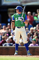 Lexington Legends catcher Chad Johnson (7) at bat during a game against the Hagerstown Suns on May 19, 2014 at Whitaker Bank Ballpark in Lexington, Kentucky.  Lexington defeated Hagerstown 10-8.  (Mike Janes/Four Seam Images)