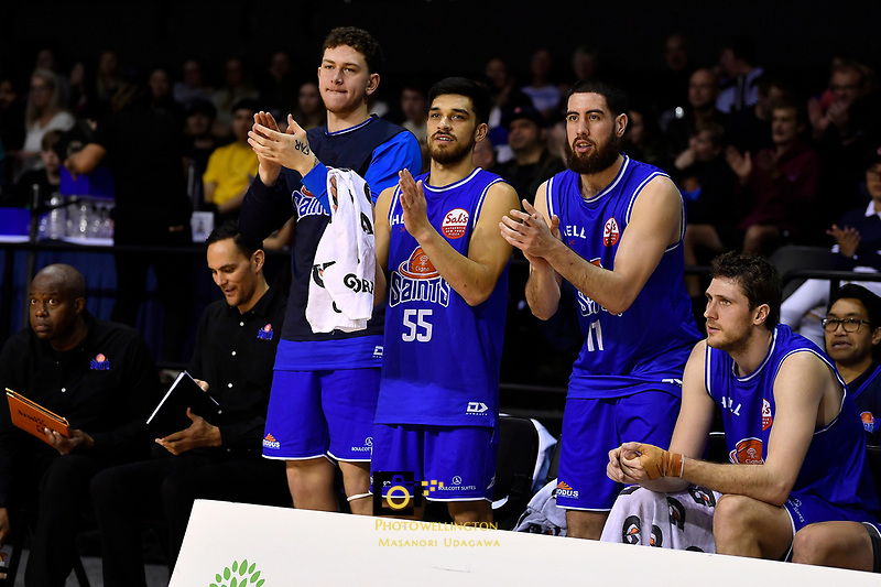 Saints' Anzac Rissetto, Shea Ili and Jordan Ngatai during the NBL - Cigna Saints v Manawatu Jets at TSB Bank Arena, Wellington, New Zealand on Sunday 30 June 2019. <br /> Photo by Masanori Udagawa. <br /> www.photowellington.photoshelter.com
