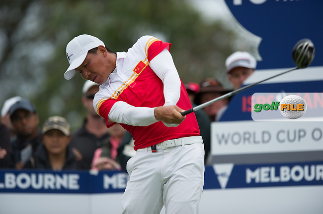 Wu Ashun (CHN) during the final round at the ISPS Handa World Cup of Golf, from Kingston heath Golf Club, Melbourne Australia. 27/11/2016<br /> Picture: Golffile | Anthony Powter<br /> <br /> <br /> All photo usage must carry mandatory copyright credit (&copy; Golffile | Anthony Powter)