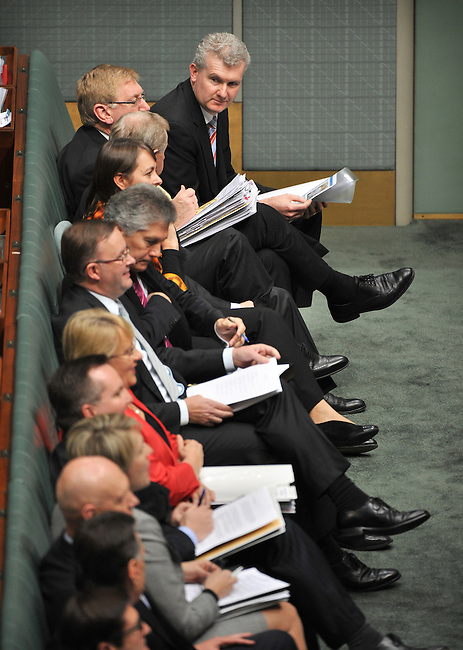 Federal Labor front bench Members in the House of Representatives, Canberra. Photo:  Mark GRAHAM