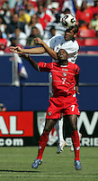 July 24, 2005: East Rutherford, NJ, USA:  US defender Oguchi Onyewu (4) goes up against Jorge Luis Dely Valdes (9) of Panama during the CONCACAF Gold Cup Finals at Giants Stadium.