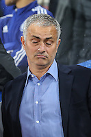 Jose Mourinho (Manager) of Chelsea relaxes ahead of the UEFA Champions League match between Chelsea and Maccabi Tel Aviv at Stamford Bridge, London, England on 16 September 2015. Photo by David Horn.