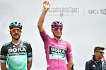 Maglia Ciclamino German Champion Pascal Ackermann (GER) Bora-Hansgrohe at sign on before Stage 3 of the 2019 Giro d'Italia, running 220km from Vinci to Orbetello, Italy. 13th May 2019<br /> Picture: Massimo Paolone/LaPresse | Cyclefile<br /> <br /> All photos usage must carry mandatory copyright credit (© Cyclefile | Massimo Paolone/LaPresse)