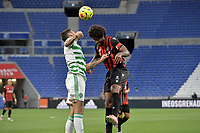 16th July 2020; Nice, France; Veolia Trohy Football friendly, OGC Nice versus Celtic FC;  Dante nice and Nir Bitton celtic challenge for the ball