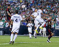 Mexico's Javier Hernandez heads the ball in the 36th minute for Mexico's 1st goal.  Mexico played Cuba in the first round of the Concacaf Gold Cup at Bank of America Stadium in Charlotte North Carolina, Mexico won 5-0