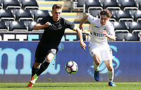 SWANSEA, WALES - MARCH 25: Oleg Reabciu of Porto is challenged by Daniel James of Swansea City during the Premier League International Cup Semi Final match between Swansea City and Porto at The Liberty Stadium on March 25, 2017 in Swansea, Wales. (Photo by Athena Pictures)