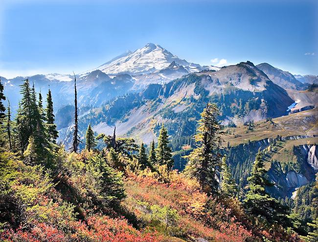 Mt. Baker on autumn Afternoon seen from Austin Pass, North Cascades, Washington State