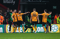 Wolverhampton Wanderers' Joao Moutinho (2nd left) celebrates scoring his side's first goal with team-mate  <br /> <br /> Photographer David Horton/CameraSport<br /> <br /> The Premier League - Bournemouth v Wolverhampton Wanderers - Saturday 23rd November 2019 - Vitality Stadium - Bournemouth<br /> <br /> World Copyright © 2019 CameraSport. All rights reserved. 43 Linden Ave. Countesthorpe. Leicester. England. LE8 5PG - Tel: +44 (0) 116 277 4147 - admin@camerasport.com - www.camerasport.com