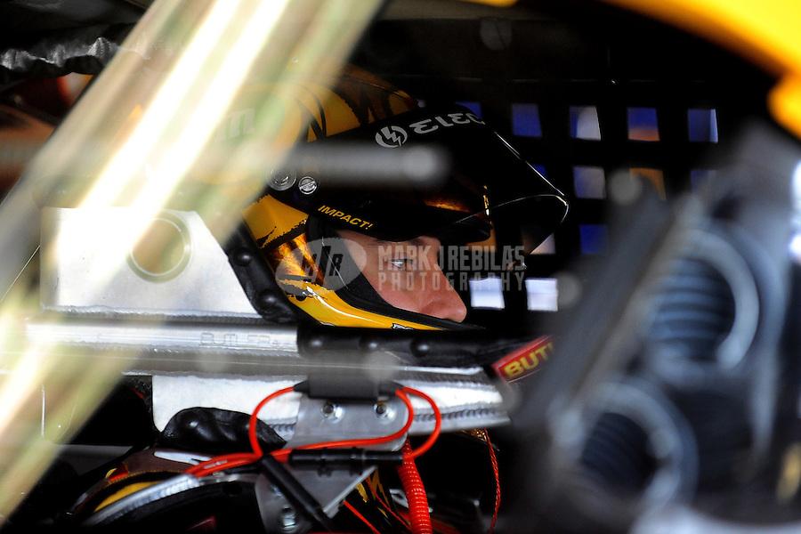 Feb 14, 2009; Daytona Beach, FL, USA; NASCAR Sprint Cup Series driver Kyle Busch during practice for the Daytona 500 at Daytona International Speedway. Mandatory Credit: Mark J. Rebilas-