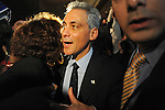 Rahm Emanuel greets his supporters after he is announced the winner in the Chicago mayoral election following nearly half a century of rule by the Daley family, father and son mayors Richard J. and Richard M. Daley, following his victory celebration at the Plumbers Union Hall in Chicago, Illinois on February 22, 2011.
