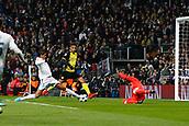 6th December 2017, Santiago Bernabeu, Madrid, Spain; UEFA Champions League football, Real Madrid versus Dortmund; Keylor Navas Gamboa (1)and Raphael Varane (5) Real Madrid block out Dan-Axel Zagadou (2) Borussia Dortmund