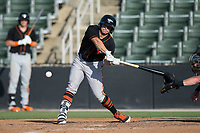 Cole Billingsley (4) of the Delmarva Shorebirds hits the catcher's mitt of Casey Schroeder (17) of the Kannapolis Intimidators during the game at Kannapolis Intimidators Stadium on July 2, 2017 in Kannapolis, North Carolina.  The Shorebirds defeated the Intimidators 5-4.  (Brian Westerholt/Four Seam Images)