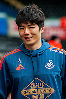 Ki Sung-Yueng of Swansea City arrives at the Liberty Stadium the Barclays Premier League match between Swansea City and Southampton  played at the Liberty Stadium, Swansea  on February 13th 2016