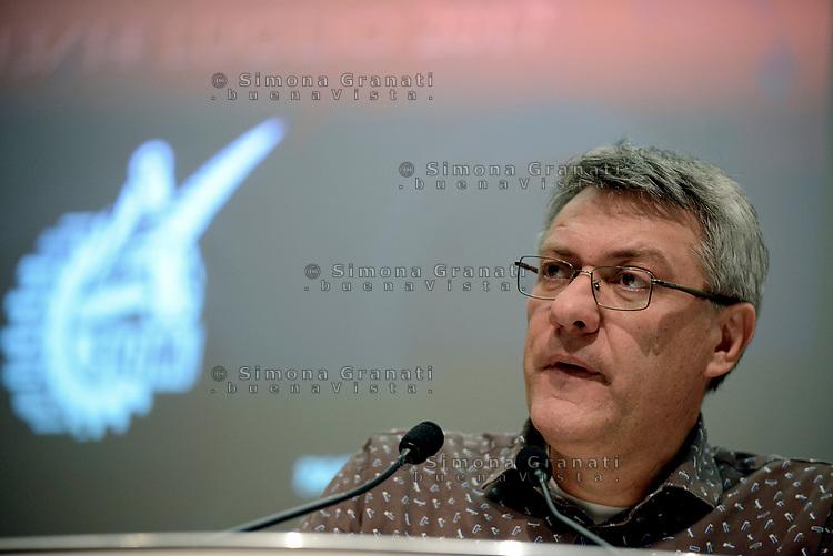 Roma, 14 Luglio 2017<br /> Maurizio Landini , il saluto.<br /> Assemblea generale FIOM CGIL, eletta Francesca Re David come Segretario Generale
