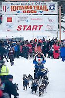 Musher # 33 Martin Buser at the Restart of the 2009 Iditarod in Willow Alaska