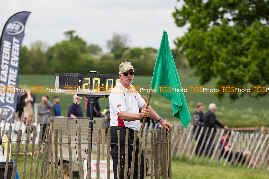 Green flag before race 2 during ACU British Sidecar Cross Championship Round Three at Wattisfield Hall MX Track on 22nd May 2016