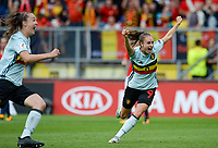 20170720 - BREDA , NETHERLANDS : Belgian Tessa Wullaert pictured celebrating after Belgium is taking the lead with 0-1 during the female soccer game between Norway and the Belgian Red Flames  , the second game in group A at the Women's Euro 2017 , European Championship in The Netherlands 2017 , both teams lost their first game , thursday 20 th June 2017 at Stadion Rat Verlegh in Breda , The Netherlands PHOTO SPORTPIX.BE | DAVID CATRY