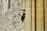 Close-up of small stone head of King at entrance to Rochester Bridge Chamber