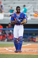 Kingsport Mets catcher Darryl Knight (22) on defense against the Greeneville Astros at Hunter Wright Stadium on July 7, 2015 in Kingsport, Tennessee.  The Mets defeated the Astros 6-4. (Brian Westerholt/Four Seam Images)