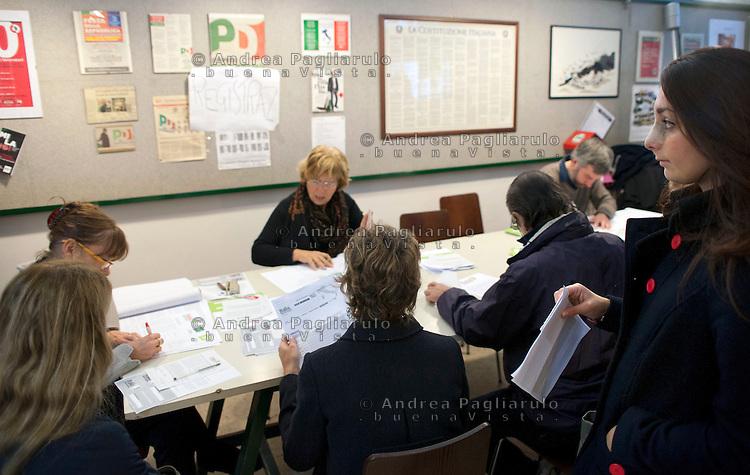 Italia, Milano, circolo PD di corso Garibaldi..Primarie del Centrosinistra..Centrer-Left coalition primary election.