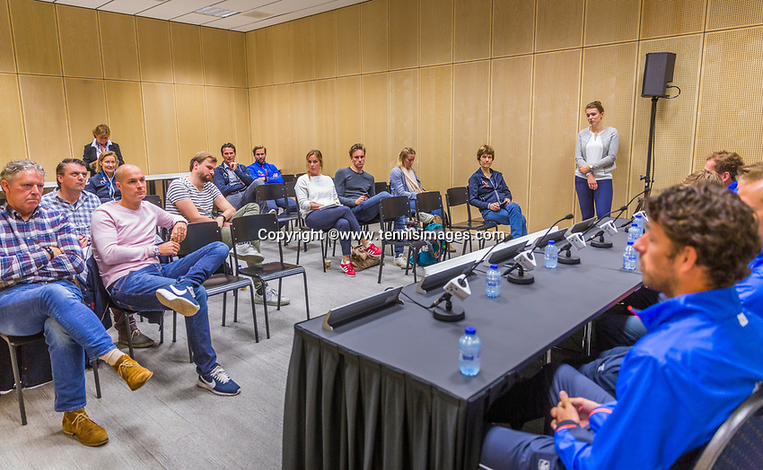 The Hague, The Netherlands, September 12, 2017,  Sportcampus , Davis Cup Netherlands - Chech Republic, Pre Draw press conference, <br /> Photo: Tennisimages/Henk Koster