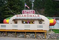 Coney Island Hotdog shaped food stand in Bailey, Colorado.
