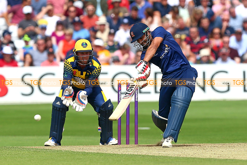 Ravi Bopara hits four runs for Essex as Chris Cooke looks on from behind the stumps during Essex Eagles vs Glamorgan, NatWest T20 Blast Cricket at The Cloudfm County Ground on 16th July 2017