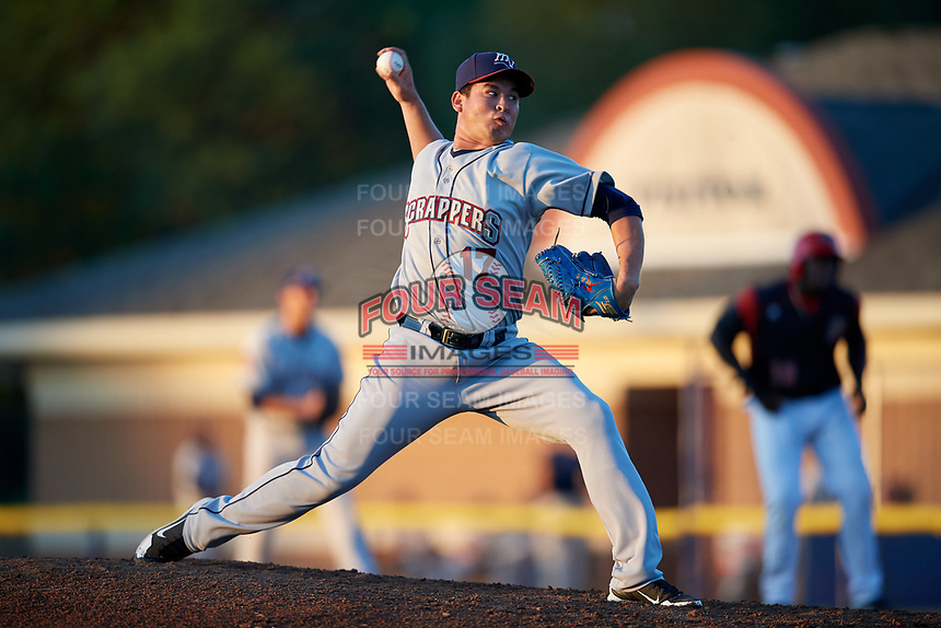 Mahoning Valley Scrappers relief pitcher Ping-Hsueh Chen (17) delivers a pitch during a game against the Batavia Muckdogs on August 16, 2017 at Dwyer Stadium in Batavia, New York.  Batavia defeated Mahoning Valley 10-6.  (Mike Janes/Four Seam Images)