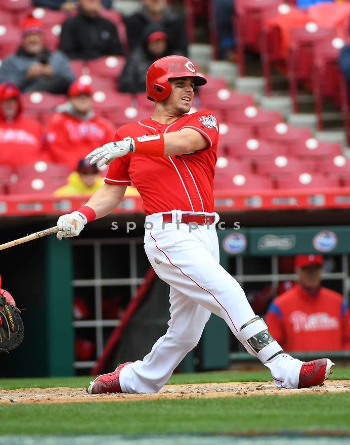 Cincinnati Reds Scooter Gennett (4) during a game against the Philadelphia Phillies on April 6, 2017 at Great American Ballpark in Cincinnati, OH. The Reds beat the Phillies 4-7.