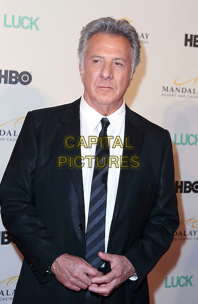 Dustin Hoffman.Advanced Screening of New HBO Original Series LUCK at the Mandalay Bay Theatre at the Mandalay Bay Resort, Las Vegas, Nevada, USA..January 26th, 2012.half length suit black white tie.CAP/ADM/MJT.© MJT/AdMedia/Capital Pictures.