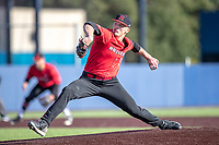 Rutgers Scarlet Knights pitcher Harry Rutkowski (41) delivers a pitch to the plate against the Michigan Wolverines on April 26, 2019 in the NCAA baseball game at Ray Fisher Stadium in Ann Arbor, Michigan. Michigan defeated Rutgers 8-3. (Andrew Woolley/Four Seam Images)
