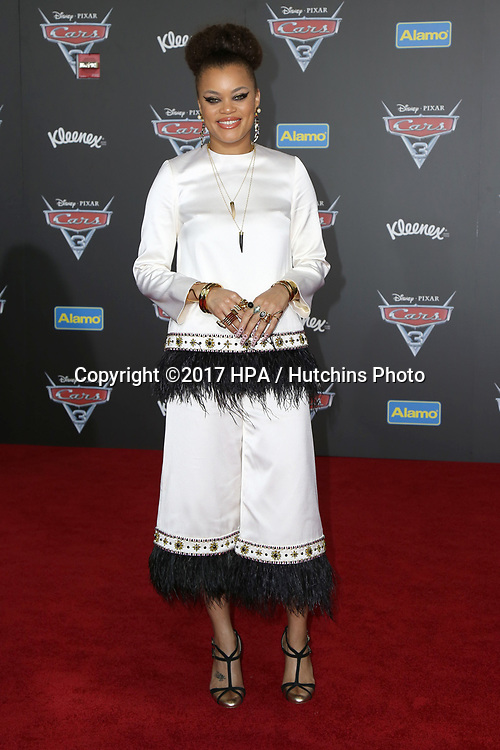 "LOS ANGELES - JUN 10:  Andra Day at the ""Cars 3"" Premiere at the Anaheim Convention Center on June 10, 2017 in Anaheim, CA"