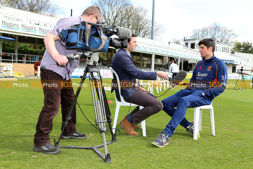 Alastair Cook of Essex is the centre of media attention during the Essex CCC Press Day at The Cloudfm County Ground on 5th April 2017