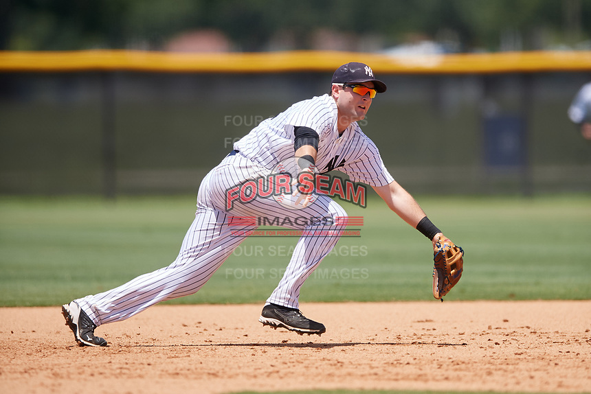 GCL Yankees West third baseman Mitchell Robinson (34) during a game against the GCL Yankees East on August 8, 2018 at Yankee Complex in Tampa, Florida.  GCL Yankees West defeated GCL Yankees East 8-4.  (Mike Janes/Four Seam Images)