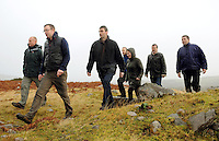CHRISTMAS FEATURE-DONAL HICKEY- Members of the Reeks Mountain Forum pictured at the base of Carrauntoohill Mountain in County Kerry from left, Paschal Dower, Kieran O'Shea, land owner, Eoin Kelliher, Kerry County Council, Mike O'Sullivan, land owner, Stewart Stephens, Chairman, Patricia Deane, SKDP and John Cronin.<br /> Picture by Don MacMonagle