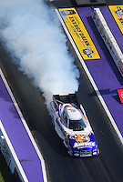 Apr. 28, 2012; Baytown, TX, USA: Aerial view of NHRA funny car driver Matt Hagan during qualifying for the Spring Nationals at Royal Purple Raceway. Mandatory Credit: Mark J. Rebilas-