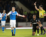 St Johnstone v Rangers&hellip;13.10.17&hellip;  McDiarmid Park&hellip;  SPFL<br />Steven Anderson reacts after being sent off for a sewcond yellow card offence on Alfredo Morelos who shows his delight<br />Picture by Graeme Hart. <br />Copyright Perthshire Picture Agency<br />Tel: 01738 623350  Mobile: 07990 594431