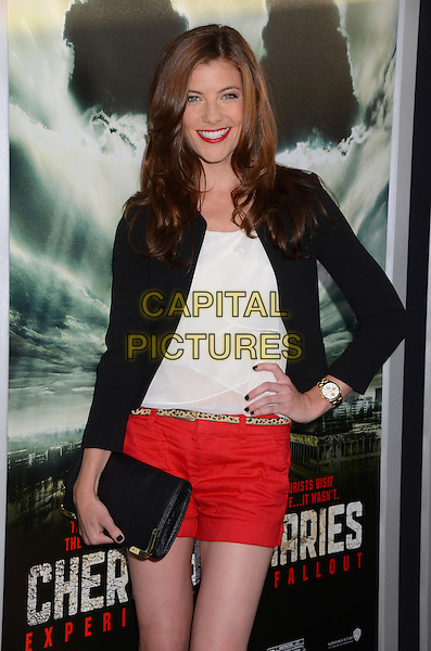 "Devin Kelley.""Chernobyl Diaries"" Special Fan Screening held at the ArcLight Cinemas Cinerama Dome, Hollywood, California, USA..May 23rd, 2012.half length black hand on hip blazer white top red shorts clutch bag.CAP/ADM/BT.©Birdie Thompson/AdMedia/Capital Pictures. Pictures"