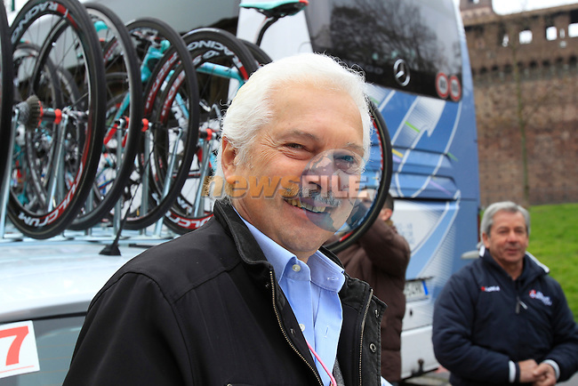 Gianni Savio General Manager Androni Giocattoli Team at the start of the 104th edition of the Milan-San Remo cycle race at Castello Sforzesco in Milan, 17th March 2013 (Photo by Eoin Clarke 2013)