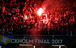 Ajax fans let off a flare during the UEFA Europa League Final match at the Friends Arena, Stockholm. Picture date: May 24th, 2017.Picture credit should read: Matt McNulty/Sportimage