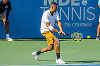 Washington, DC - August 4, 2019:  Nick Kyrgios (AUS) reaches the ball during the Citi Open ATP Singles final at William H.G. FitzGerald Tennis Center in Washington, DC  August 4, 2019.  (Photo by Elliott Brown/Media Images International)