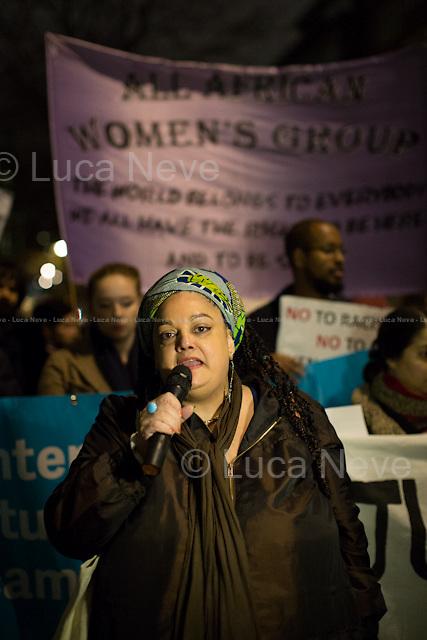 Zita Holbourne (Poet, PCS NEC and Black Activists Rising Against Cuts, BARAC).<br /> <br /> London, 18/12/2014. Today, to mark the UN International Migrants Day - #IAmAMigrant, the &quot;National Union of Students - International Students Campaign and the Black Students Campaign&quot;, &quot;London Black Revolutionaries&quot;, &quot;National Campaign Against Fees and Cuts&quot; and &quot;DocsNotCops&quot; co-organised a demonstration outside the Home Office. After a short march, the protest ended outside G4S HQ in Victoria where activist demonstrated against the three G4S security guards (Terence Hughes, 53, Colin Kaler, 52, and Stuart Tribelnig, 39) who were found not guilty of the manslaughter of Jimmy Mubenga, 46 (died of a fatal heart attack on a Heathrow flight in 2010), who they were deporting to Angola. <br /> <br /> For more information please click here: http://on.fb.me/1CaIxcR