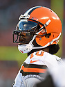 CLEVELAND, OH - AUGUST 18, 2016: Quarterback Robert Griffin III #10 of the Cleveland Browns watches the action from the sideline in the first quarter of a preseason game on August 18, 2016 against the Atlanta Falcons at FirstEnergy Stadium in Cleveland, Ohio. Atlanta won 24-13. (Photo by: 2016 Nick Cammett/Diamond Images) *** Local Caption *** Robert Griffin III
