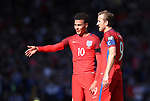 England's Dele Alli talks to Harry Kane during the FIFA World Cup Qualifying match at Hampden Park Stadium, Glasgow Picture date 10th June 2017. Picture credit should read: David Klein/Sportimage