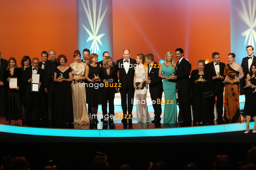 CPE/June 13, 2013-Prince Albert with Nymph Winners during 53rd Monte-Carlo TV Festival. Golden Nymph Awards Photocall.