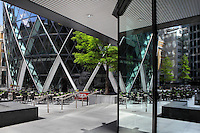 Ground floor of The Swiss Re building, known as the Gherkin, 1997 -  2004, Foster and Partners, Arup Engineering, London, UK. Picture by Manuel Cohen