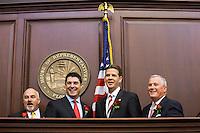 TALLAHASSEE, FLA. 3/3/15-Speaker Pro Tempore Rep. Matt Hudson, R-Naples, left, House Speaker Steve Crisafulli, R-Merritt Island, Senate President Andy Gardiner, R-Orlando, and Senate President Pro Tempore Garrett Richter, R-Naples, right, pose for a photo during the opening day of the 2015 Legislative Session Tuesday at the Capitol in Tallahassee.<br /> <br /> COLIN HACKLEY PHOTO