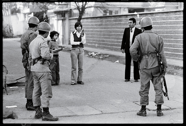 Soldiers on patrol after clashes killed scores. Meshad, January 3, 1979